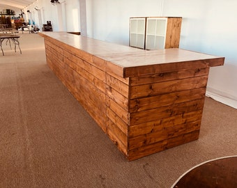 The Grand Canyon - 4 x 20 x 4 Rustic barn wood or pallet look bar, sales counter or reception desk
