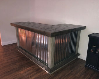 The Shabby Gray Beach Bar- 7 x 4.5 Wood and corrugated Metal indior or outdoor patio bar