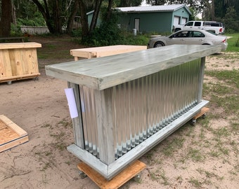 All Shabby Gray 8' Corrugated Metal and Wood Bar - Rustic style wood & corrugated metal indoor bar