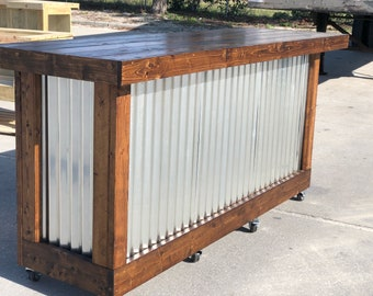 The Plank Provincial - 8 foot mobile corrugated metal  exterior patio bar