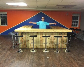 Ultimate U Shape - 10' x 10' x 10' Rustic style real pressure treated wood outdoor or indoor patio bar