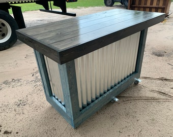 Mini Ebony/Blue Beach Bar- 5' rustic style corrugated metal/wood outdoor covered or indoor bar