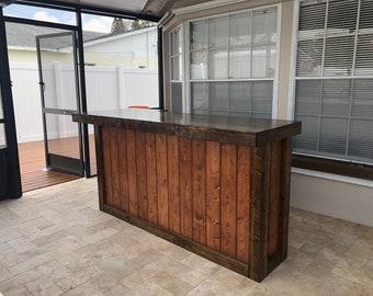 Bob's Bar- 7' Small L Rustic barn wood look indoor bar, sales counter or reception desk