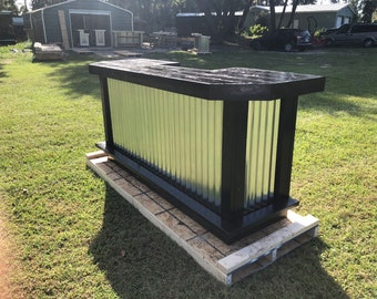 Black and Silver foo-BAR Metal 8' - Rustic real wood outdoor or indoor patio bar