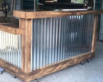 The Marbled Walnut Martin - 7 x 6 L shaped rustic corrugated metal reception desk with faux Marbled Walnut Finish