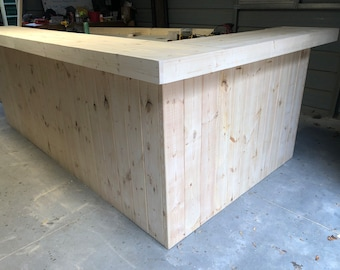 The Unfinished Kitchen - 10' x 6' 2 level L pallet look Bar, Reception Desk, or Retal Sales Counter