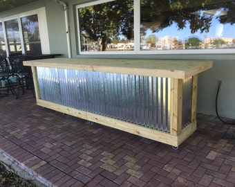 The Outdoor Shiny Bar - 12' corrugated metal rustic outdoor patio bar