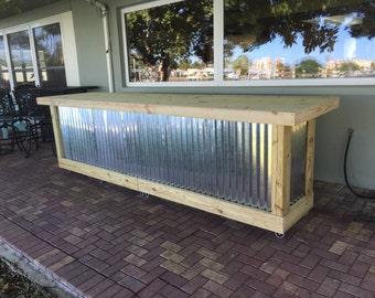 Ordinaire The Beer Pong   12u0027 Corrugated Metal Rustic Outdoor Patio Bar