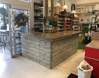 The Shabby Barn Horizontal L - 8 x 6  foot Shabby Chic Rustic Barn Wood or Pallet Style Bar, Sales Counter or Reception Desk