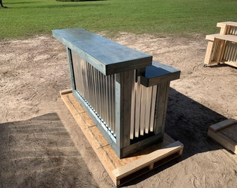 Blue Beach Mini Kitchen - 6' 2 level rustic style corrugated metal/wood smooth top indoor bar or reception desk