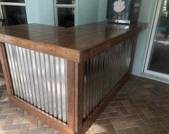 The Walnut Beach Bar- 7 x 4.5 Wood and corrugated Metal indior or outdoor patio bar