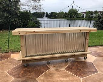 Metal Straight 6' - Rustic style real pressure treated wood & corrugated metal outdoor or indoor bar