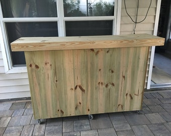 Prep Bar 2 Level - 6' Rustic real pressure treated wood outdoor or indoor patio bar