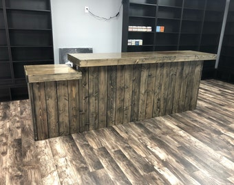 The Ebony Drop - 10' rustic barn wood style or pallet style  sales counter, reception desk, with POS/ADA drop