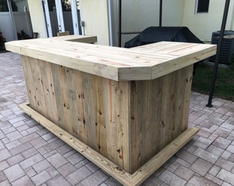 Mini Mega U Shape - 4'x8'x4' Rustic style real pressure treated wood outdoor or indoor patio bar with angled corners