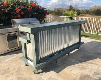 The Blue Beach Mini Kitchen - 8'  Two Level Wood and corrugated Metal Rustic Outdoor Patio Bar