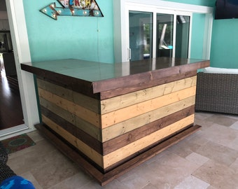 The Rocky Brown Top - 6 x 6 Rustic Finished Barnwood Look or Pallet Style Bar, Sales Counter, Reception Desk with footrail