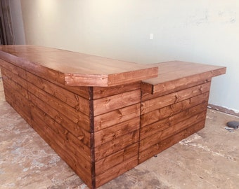 The Grand Lounge - 11 x 7 rustic barn wood or pallet look retail sales counter, reception desk, with POS or ADA drop