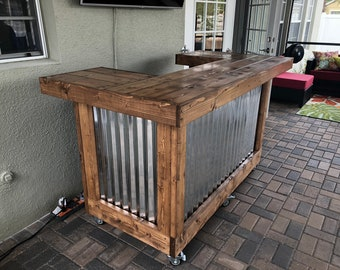 The Walnut  Thomas - 3' x 6' X 3'  2 level corrugated metal and wood indoor or outddor bar with 2 shelves and casters