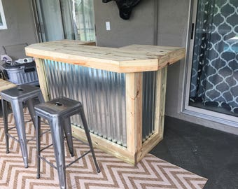 foo-BAR Metal 6' - Rustic real pressure treated wood & corrugated metal outdoor or indoor patio bar with casters