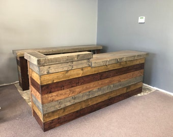 The Bundy - Unfinished 8' 3 piece rustic barn wood or shabby look retail sales counter, reception desk make cubbies look like 2nd picture
