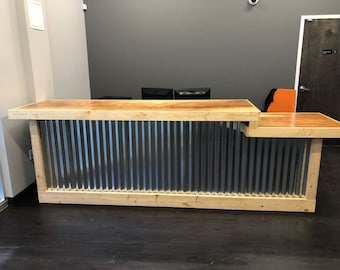 The  Two Level Counter - 11 foot corrugated metal and birch sales counter, reception desk with ADA or POS drop with finish clear coat
