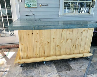 Blue and White Beach Bar, Rustic indoor or Outdoor 7' x 4.5 patio bar, sales counter or reception desk