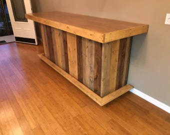 The Maggie - 8' Rustic Finished Barnwood or Pallet Style Bar, Sales Counter reception desk