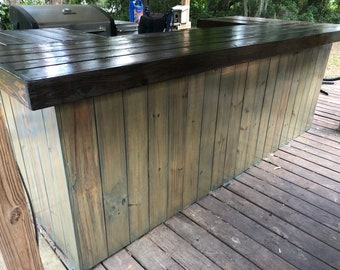 The Olive and Espresso - 4.5' x 9' x 4.5' handmade wood outdoor patio bar
