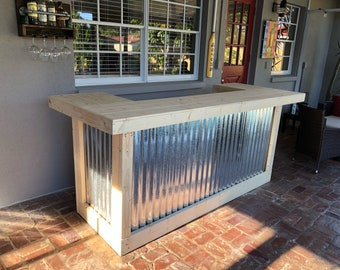 Indoor Thomas  3' x 8' X 3' - Unfinished 2-level Rustic style wood & corrugated metal indoor bar