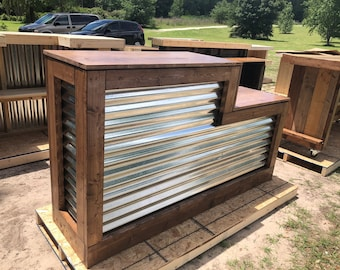 The Tobasco - 6' corrugated metal rustic sales counter, 2 levels finished