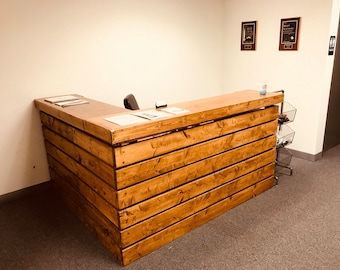The Hello Elyse .75 L Shaped Chestnut - 6.5' wide by 5.5' Pallet style 2 level Rustic reception desk, stained and polyurethaned