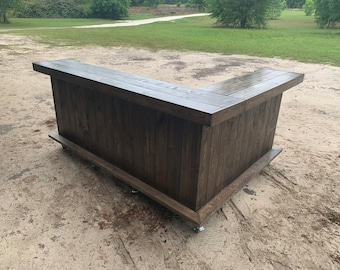 Espresso Beach Bar Kitchen - 8 x 6 2-level Shabby Chic Rustic Barn Wood Style, Pallet Style outdoor covered or indoor bar
