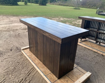 Espresso Straight 8  - 8 foot plank top rustic barn wood or pallet look indoor or covered outdoor home bar