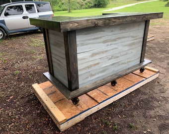 All Wood Thomas Shabby  - 3' x 8' X 3' 2-level Shabby Chic Rustic Barn Wood Style, Pallet Style outdoor covered or indoor bar