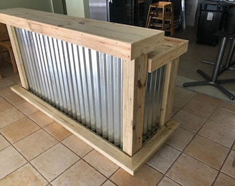 The Outdoor Buffet, Jr.  - 6' Exterior Treated Wood and Corrugated Metal Outdoor 2 level Patio Bar with footrail and 2 shelves, casters