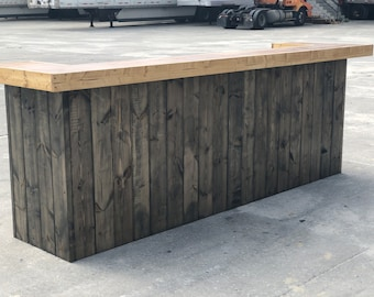 The Ethan - 10 foot rustic barnwood look 2 person 2 level Reception Desk or Bar