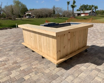 Kitchen L Shaped 2-Level  - 8' x 6' Rustic pressure treated wood style, patio bar, leg right, casters, foot rail, lower shelf, ship 275
