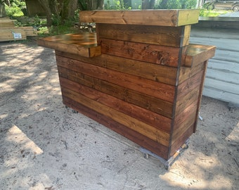 LaVonne Red Oak/Provincial Top - Rustic Barn Wood Style, Pallet style rustic reception desk or sales counter