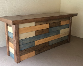 The Jones - 8' Rustic Finished Barnwood or Pallet Style Bar, Sales Counter, Reception Desk