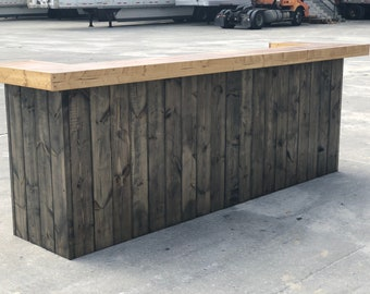 Ethan Ebony/Natural- 10 foot Shabby Chic Rustic Barn Wood Style, Pallet Style 2 level Reception desk, sales counter or bar