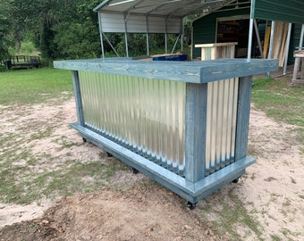 Blue Beach Thomas - 3' x 8' X 3'  rustic style corrugated metal/wood reception desk, sales counter or bar