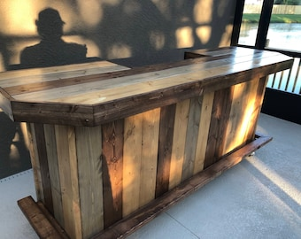 Planktop Maggie - 8' Rustic, Shabby Chic Rustic Barn Wood Style, Pallet Style outdoor covered or indoor bar, ship 325