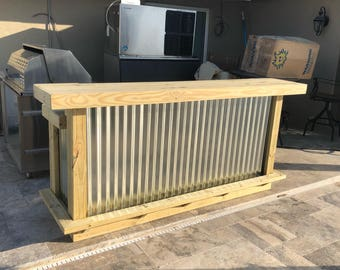 The Outdoor Buffet - 8' Exterior Treated Wood and Corrugated Metal Outdoor 2 level Patio Bar with footrail