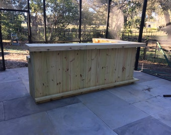 Kitchen 2-Level L Shape - 8' x 6'  Rustic real pressure treated wood outdoor or indoor patio bar