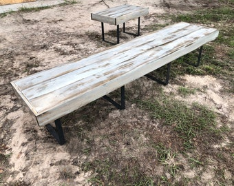 The Jill Bench - 6' foot rustic shabby shic bench with weathered metal legs