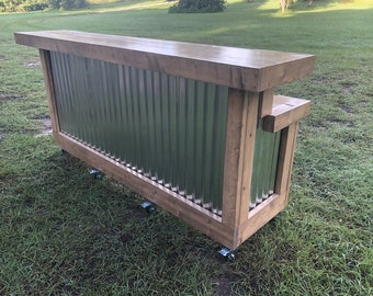 The Mushroom Mini Kitchen - 8'  Two Level Wood and corrugated Metal Rustic Outdoor Patio Bar