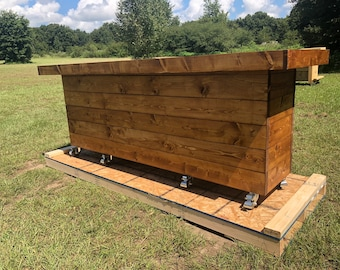 The Canyon Rustic Table - 8' mobile pallet or barn wood buffet table or desk
