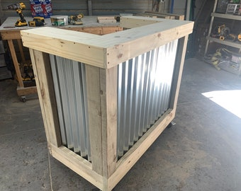 """Outdoor Hostess Stand - 4' wide x 42"""" tall x 22"""" deep, corrugated metal and pressure treated wood mobile hostess desk"""