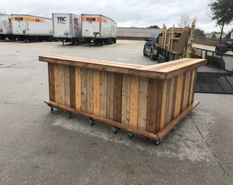 Maggie's Kitchen - 8 x 8 Rustic Pallet or Barn wood 2 level outdoor bar with casters, foot rail and bottom shelf